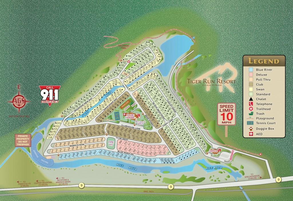 Park Map, Tiger Run Resort, Breckenridge, CO, RV Sites & Chalets for